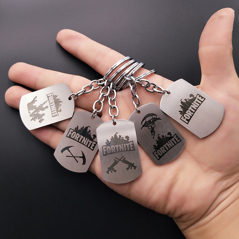 Hot FPS Game Fortnite Battle Royale Keychains Stainless Steel keyring Laser Printing Personalized Jewelry Do not fade 5 Styles