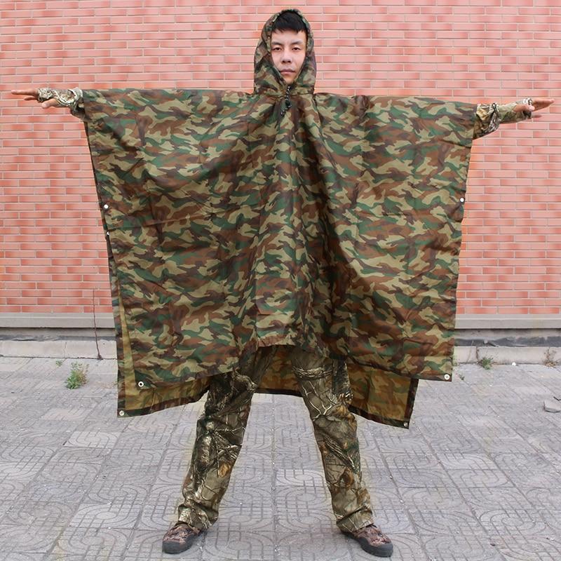 Camouflage Outdoor Hunting Raincoat Camping Hiking Rain Poncho Multi-functional Backpack Coat Fishing