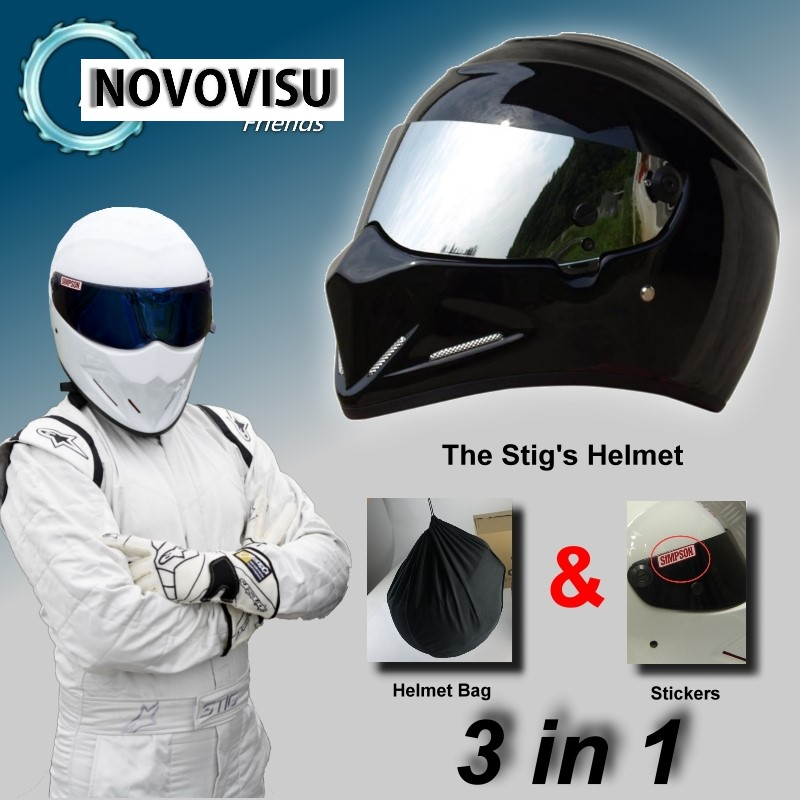 NOVOVISU For TopGear The STIG Helmet Capacete Casco De / Bag SIMPSON Sticker 3 in 1 / Bright Black Moto Helmet with Silver Visor sa212 saddle bag motorcycle side bag helmet bag free shippingkorea japan e ems