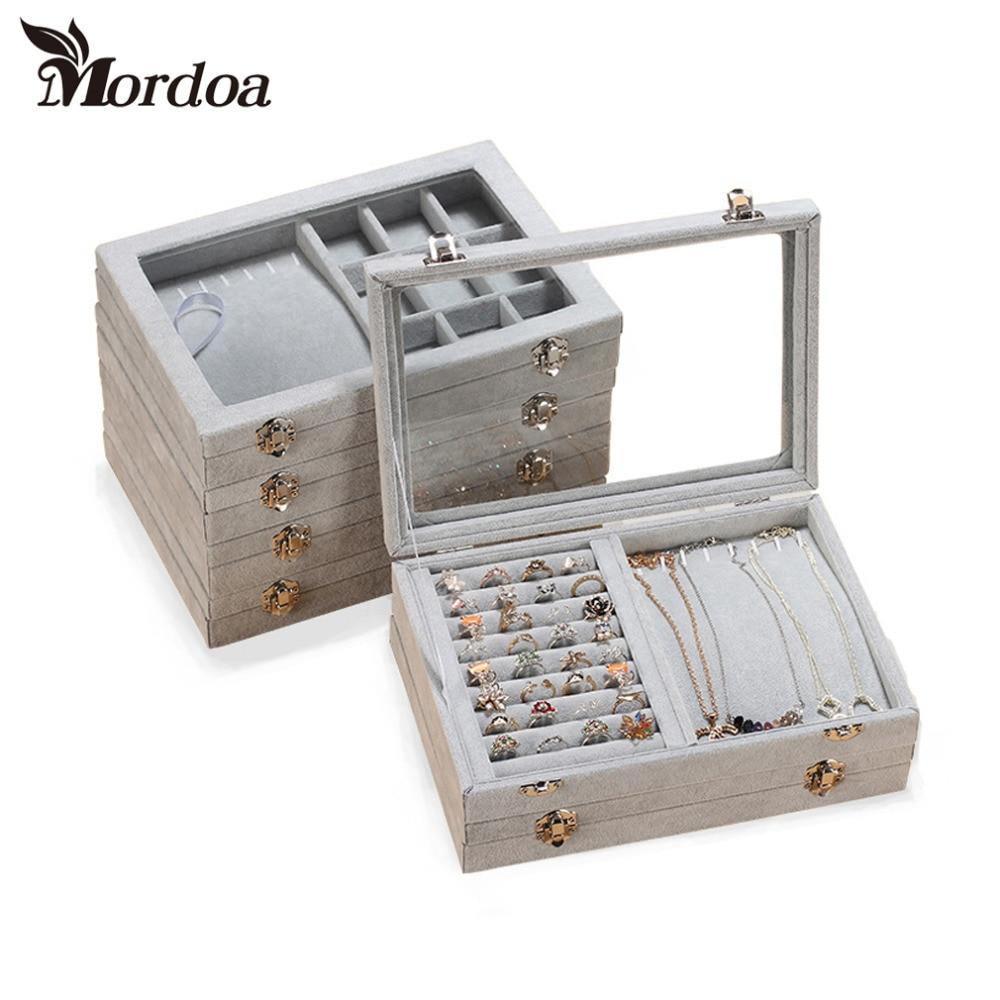 2016 Fashion Velvet Jewelry Display Casket Jewelry Organizer Ring Necklace Pendant Box Case Jewlery Gift Box Jewelry Box