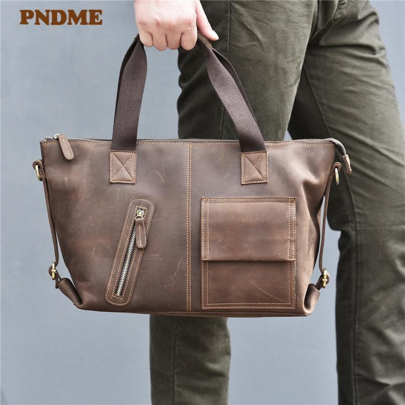 PNDME Genuine Leather Men's Briefcase Fashion Vintage Laptop Bag Casual Office High Quality Messenger Bags Business Handbag