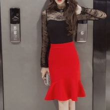 S-5XL 2018 Women Pencil Skirt Fashion OL Slim Bodycon Business Wear Ruffles Hem Mermaid Style Plus Size Ladies Office Skirt