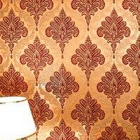 Brown Gold Damask Velvet Flocked Wallpaper Roll Vintage Europe Wallcovering Sound Absorbing