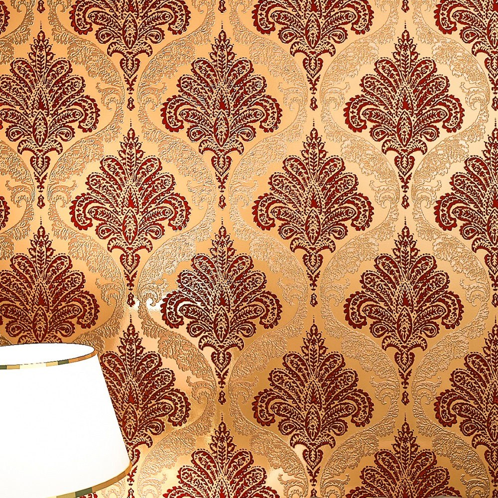Vintage Dark Gold Damask Velvet Flocked Wallpaper Roll Vintage Europe Wallcovering Sound-Absorbing купить недорого в Москве