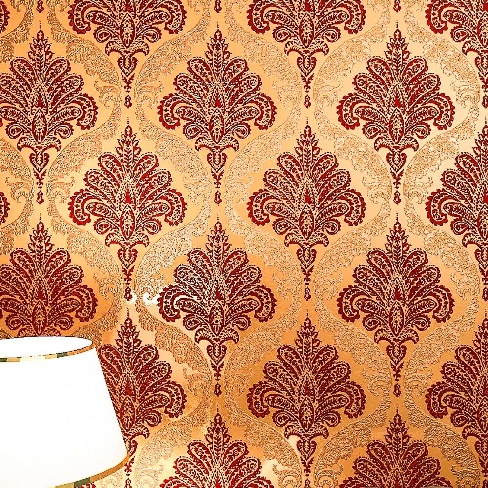 popular velvet flocked wallpaperbuy cheap velvet flocked  - vintage dark gold damask velvet flocked wallpaper roll vintage europewallcovering soundabsorbing(china