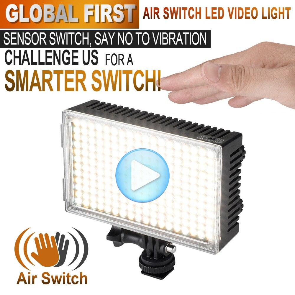 Pergear 216 LED Video Studio Photo Light Air Switch Sensor Light Bi-Color Dimmable 3200K-5500K for Camera Camcorder + Gift