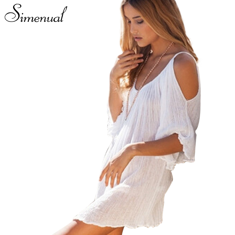 Mujeres summer dress bohemia style fashion sexy fuera del hombro beach dress dre