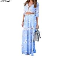 여름 여성 꽃 맥시 비치 드레스 섹시한 깊은 V 넥 반 소매 맥시 드레스 우아한 수리 블루 두 조각 세트