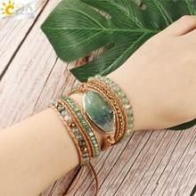 CSJA Natural Stone Fluorite Leather Wrap Bracelet Crystal Green Aventurine Beads Multilayer Bracelets Bangles Boho Chic G118