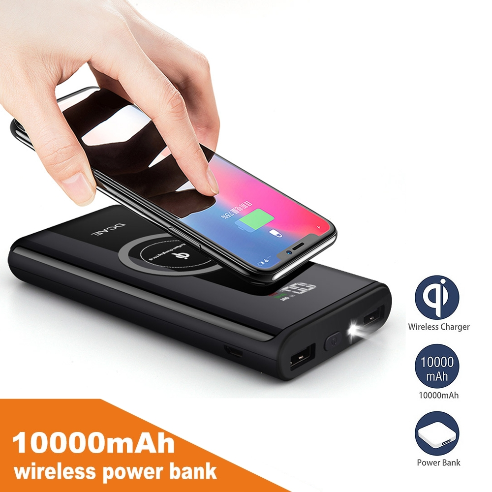 DCAE 10000mAh QI Wireless Charger Power Bank Portable External Battery Powerbank For iPhone XS Max XR X 8 Samsung S9 S8 Xiaomi 1
