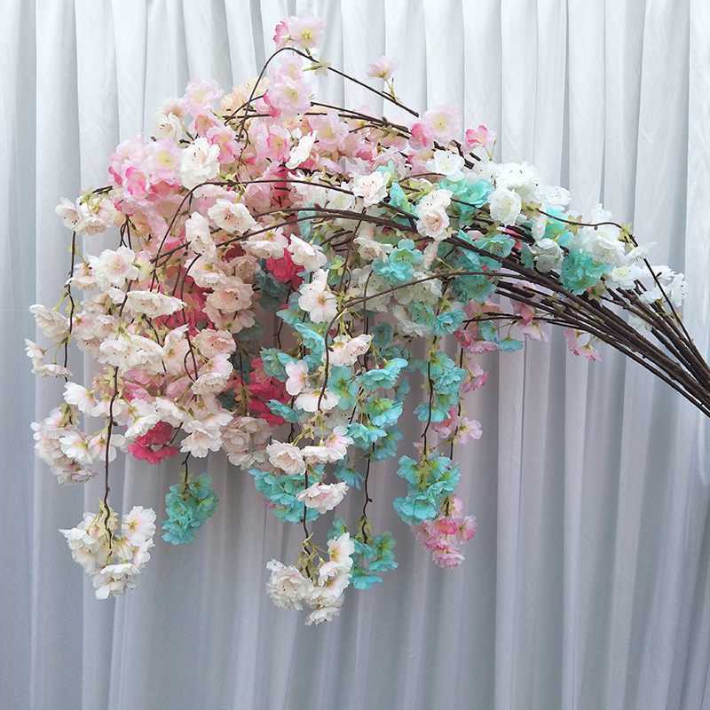 10 branches simulation hanging waterfall cherry blossom wedding arch ceiling living room photo studio decoration fake flower