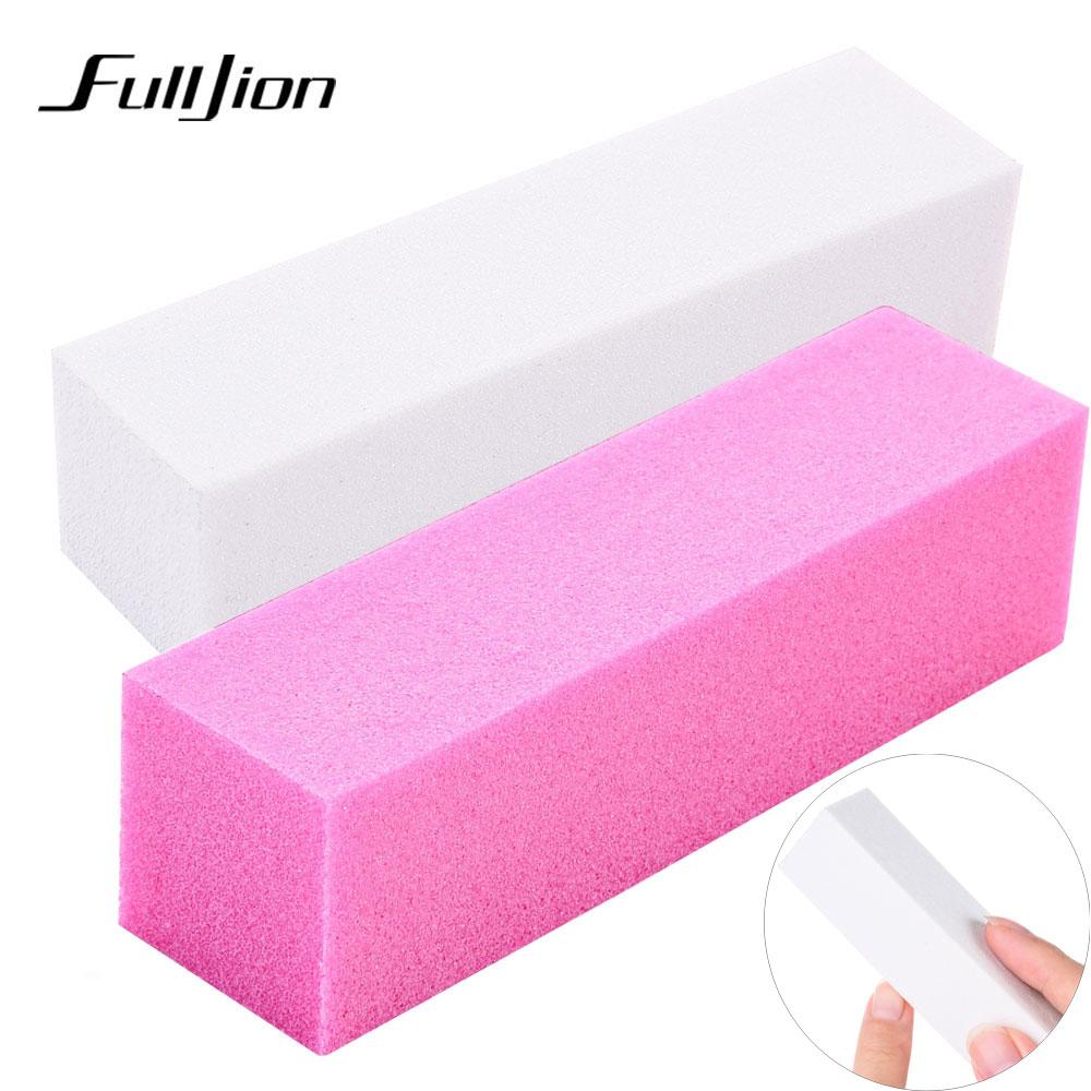 Fulljion 1pcs Pink Form Nail Buffers File For UV Gel White Nail File Buffer Block Polish Manicure Pedicure Sanding Nail Art Tool