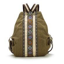 Lienzo Nacional Tribal Étnico Bordado Floral Mochilas bolso de Escuela mochila de Viaje mochila mochila sac a dos femme Li243