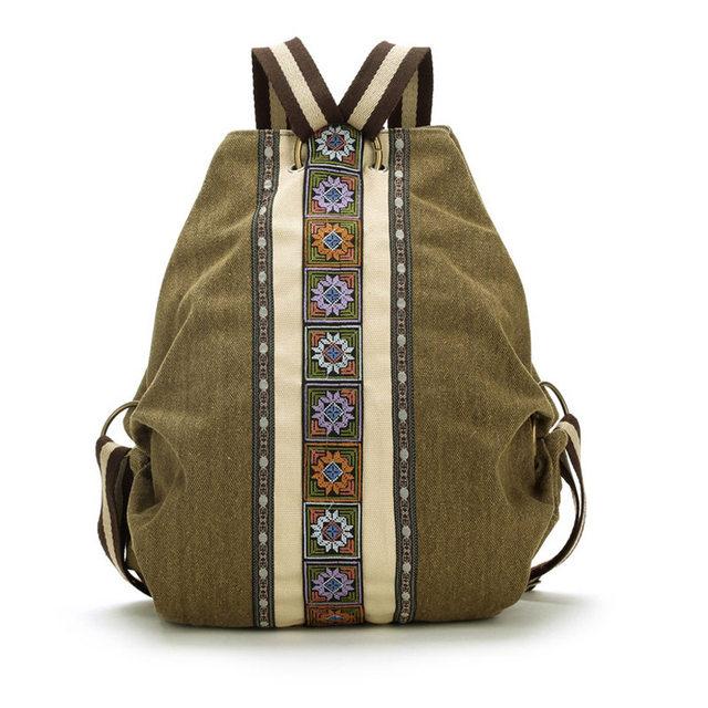 Lona Nacional Tribal Étnica Bordado Floral Mochilas Mochila de Viagem mochila bolsa de ombro Escola femme sac a dos Li243