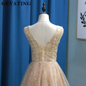 Image 4 - Glitter Champagne Sequins Evening Party Gowns 2020 Elegant Women Plus Size Formal Dress Sexy V Neck Backless Prom Dresses Gold