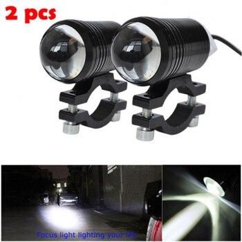2 uds Universal U1 lente de ojo de pez LED Luz de motocicleta Faro de conducción de niebla punto de trabajo lámpara de noche + interruptor de Control