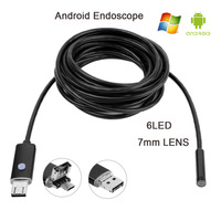 Black 2IN1 Android Endoscope Waterproof Inspection 6LED 7MM Lens USB Borescope Video Tube Pipe Micro USB