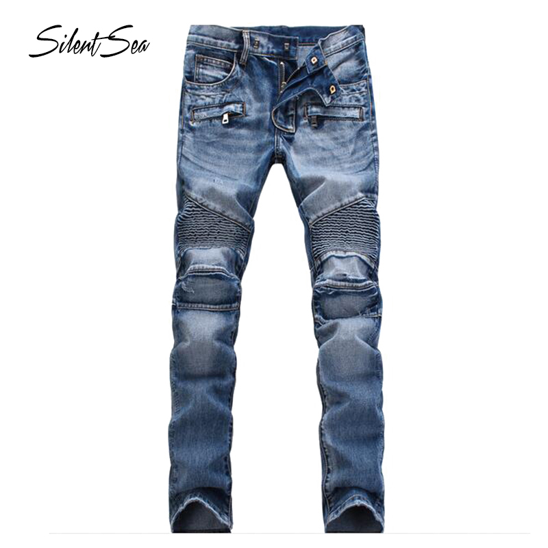 Silentsea Top Quality Long Trousers Jeans Men Cotton Fabric Slim Straight Jeans Males Causal Blue Solid Scratched Pants