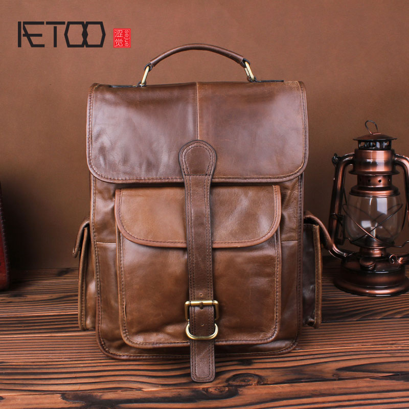 AETOO Leather Backpack male retro first layer cowhide business backpack simple college wind bag man bag aetoo original shoulder bag leather retro backpack business computer bag head layer leather travel male bag college wind