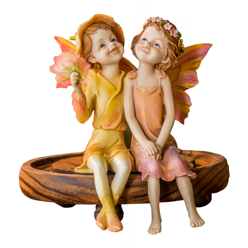 Pastoral Europe Flower Fairy Figurines Resin Craft Ornament Home Living Room Bar Miniature Figurine Fashion Couple Wedding Gifts