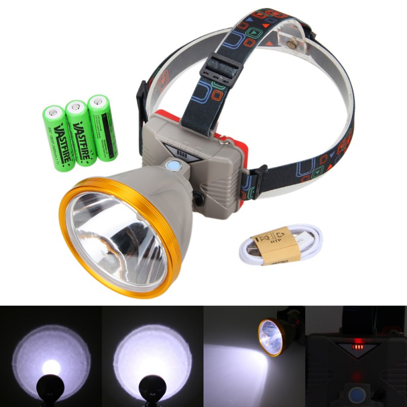 Waterproof Head Lamp 8000LM Adjustable Headlamp XM-L T6 LED Headlight Flashlight Torch for Camping +3PCS Rechargeable Battery