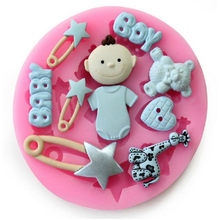 TTLIFE Baby Shower Party Silicone Baking Mold Baby Boy Fondant Cake Decorating Tools Candy Fimo Clay Chocolate Gumpaste Moulds(China)