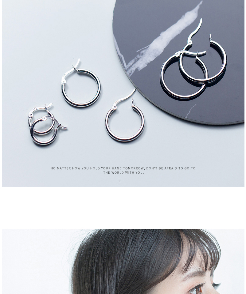Round Hoop Earrings For Women Classic 925 Sterling Silver Ear Piercing Clip On Earring For Female Fashion Pendientes Aro Plata (1)
