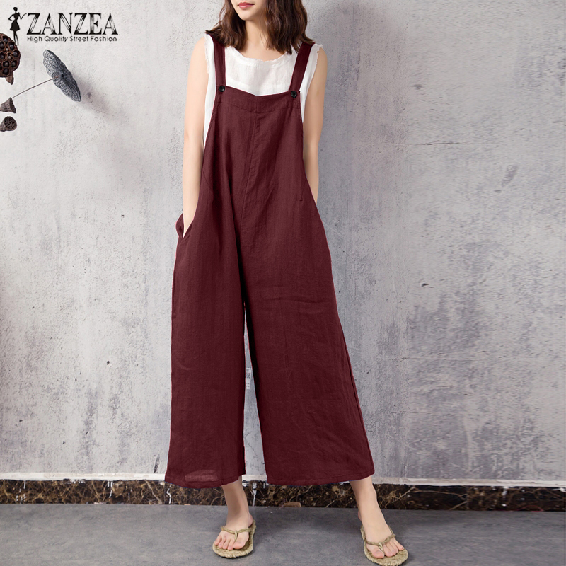 2018 ZANZEA Women Jumpsuits Strappy Pockets Solid Wide Leg Rompers Summer Cotton Linen Dungarees Casual Loose Bib Overalls S-5XL