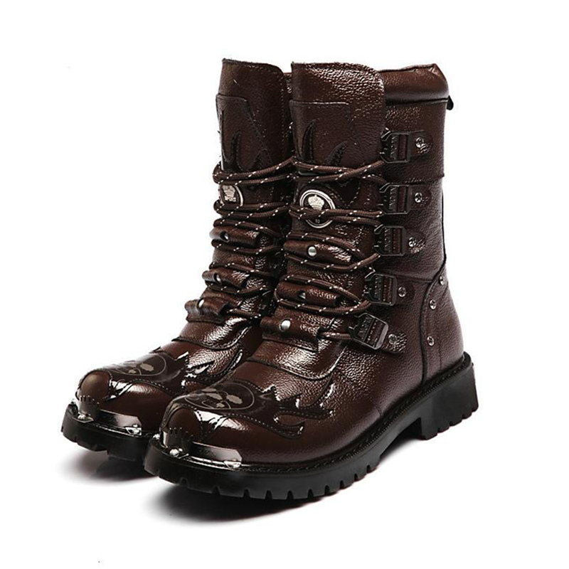 2015 PUNK Rock COOL MEN'S High Ankle Fashion Motorcycle Army Boot Patent Leather mens boots EUO39-44 - Cheapest Tactical Gear store