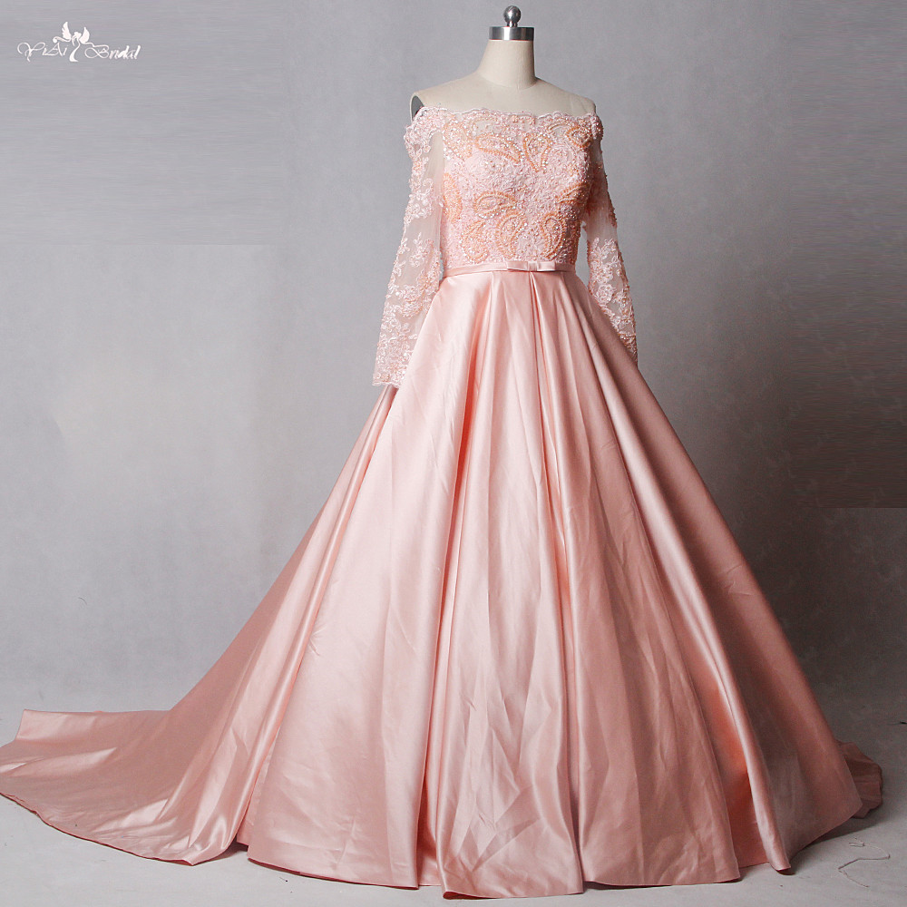 RSW1245 Off The Shoulder Long Sleeves Satin Skirt Pink Wedding ...