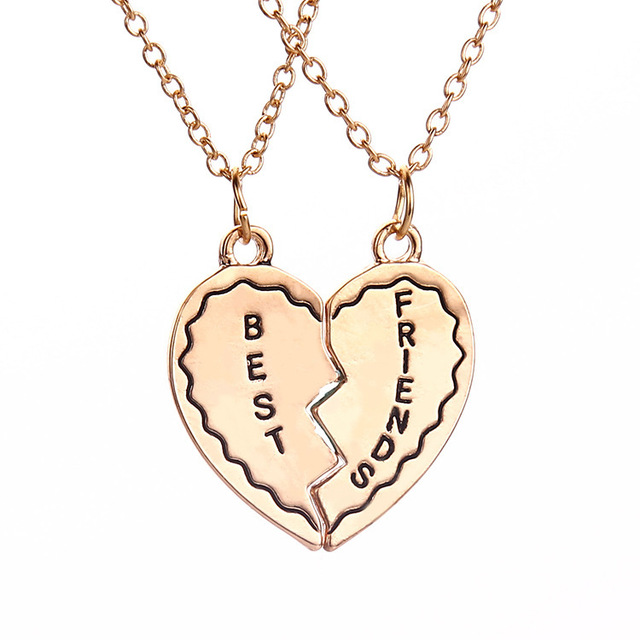 New 2015 Best Friends Gold Heart 2 Parts Pendant Necklace Set Birthday Gift Men And Women