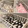 2016 nueva rosa negro gris colores patrón de Nubes de Algodón Colcha cama hoja plana sábanas para niños niñas ropa de cama de bebé recién nacido conjunto