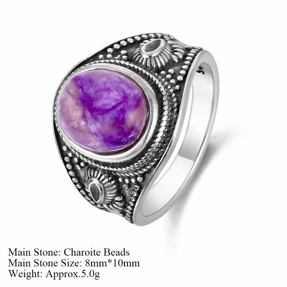 GUYINKU Природный чароит Lapis розовый кварц красочные драгоценные камни кольца 925 пробы серебряные ювелирные изделия для женщин мужчин пара колец
