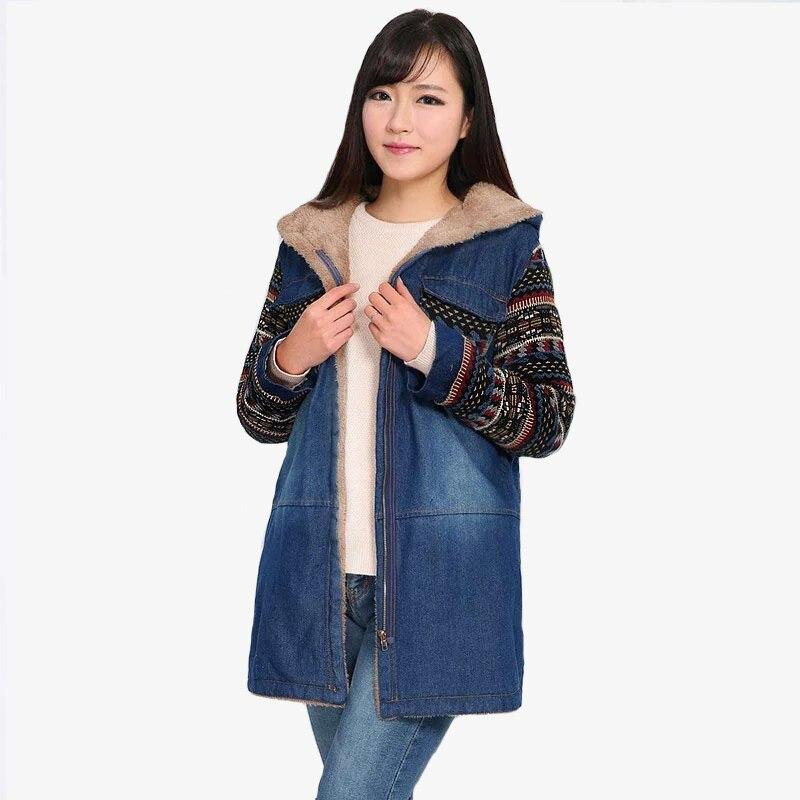купить Vintage Hooded Winter Jacket Women Denim Parka 2017 Harajuku Female Coats Plus Fleece Warm Cotton Jacket Lady Denim Overcoat дешево