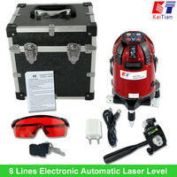 360 Rotary Laser Level 8 Lines 3 Point Electronic Automatic 635nM Cross Level Euro Plug Lazer