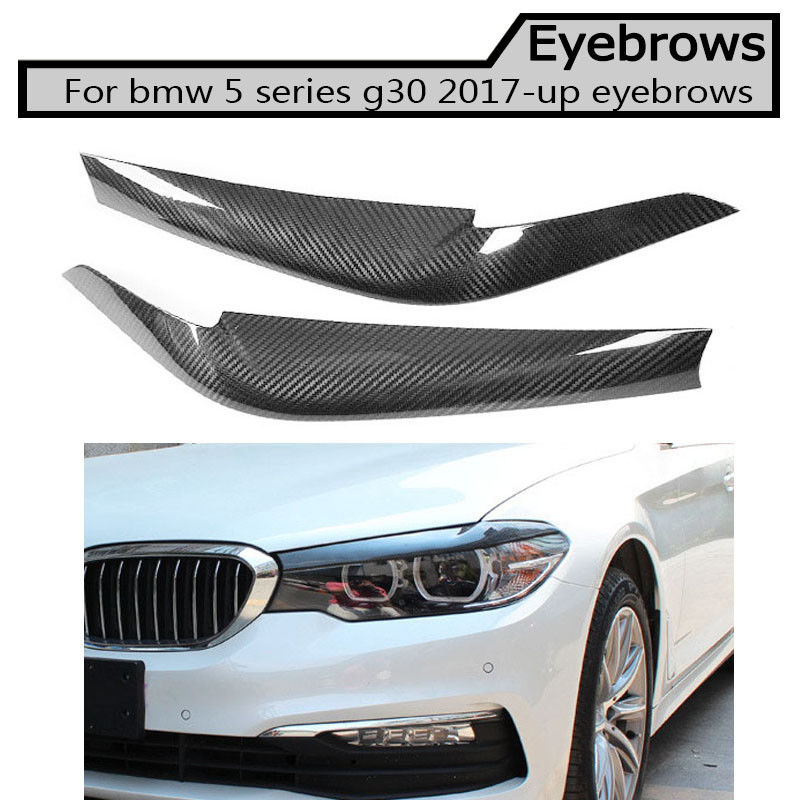 G30 Carbon Fiber Headlight Eyelids Eyebrows Covers Trim For BMW 5 Series 2017 +
