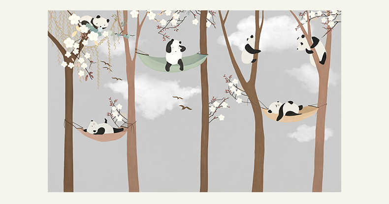Bacaz Large Cute Panda Trees 3d Cartoon Murals Wallpaper For Baby Child Room 3d Wall Photo Mural 3d Wall Paper 3d Wall Stickers Mural Wallpaper Wallpaper For Childrenwall Paper Aliexpress