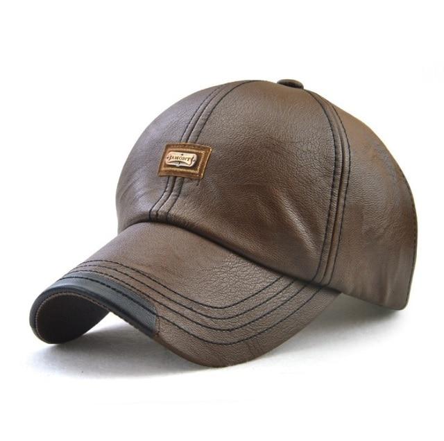JAMONT  Men Baseball Cap Winter Snapback Hat PU Leather Warm Hats Male  Fashion Caps Casquette 572fdeecd7f2