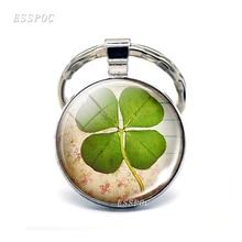 Shamrock Lucky Clover Jewelry Key Chain Handmade Art Glass Pendant Silver Ring for Women Gifts