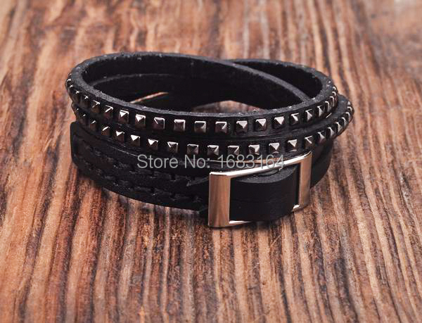 Black Double Wrap Leather Wristbands Bracelet Cuff Punk Lined Studded Mens