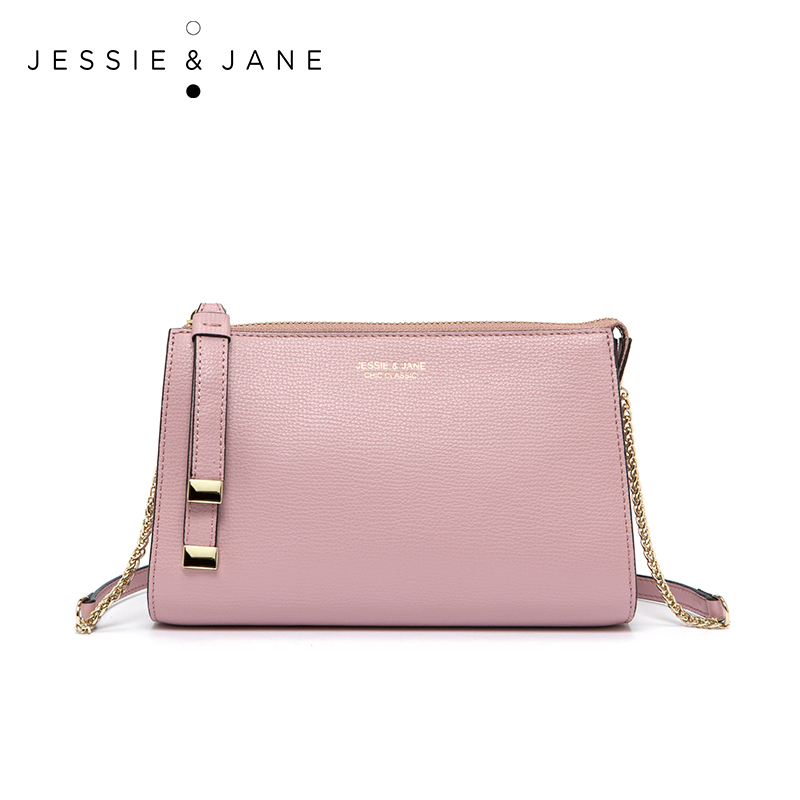 JESSIE & JANE New Style Fashion Simple Chain Bag Split Leather Women Crossbody B