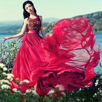 O Envio gratuito de 2018 Nova Moda Longo Maxi Boemia Verão Chiffon Bordado One-piece Sexy Vermelho Vestidos de Babados SL Boshow vestido