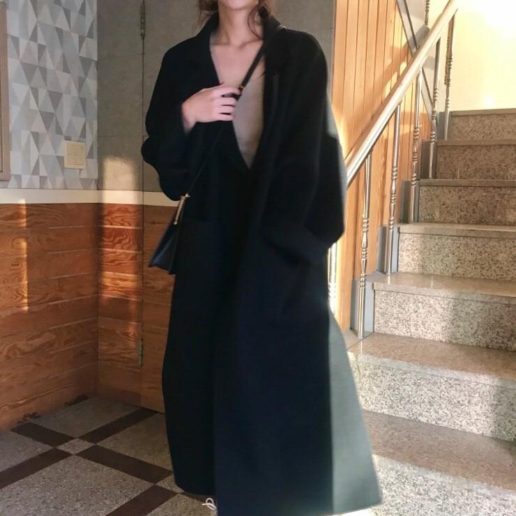 Women Elegant Winter wool Overcoat Long Bandage Woolen Coat Cardigan Loose Plus Size Abrigos Mujer Manteau Femme Hiver 10
