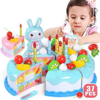 37 unids/set DIY pastel Juguete cortar fruta Cocina cumpleaños juguetes niños plástico...