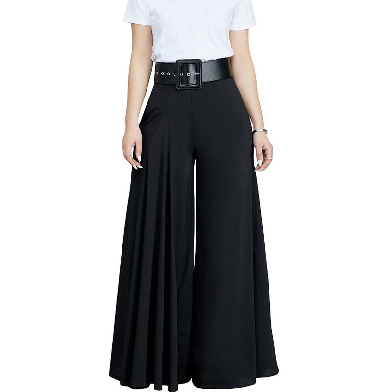 Women Casual Loose Pleated Wide Leg Pants Palazzo Pants Autumn Hight Waist Elegant Pantalon Office Ladies Trousers With Pockets