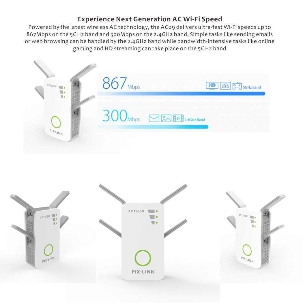 Répéteur/routeur/extension de gamme AP sans fil AC1200M haute puissance 10 100 Mbps oui Booster de Signal 2.4G et 5G
