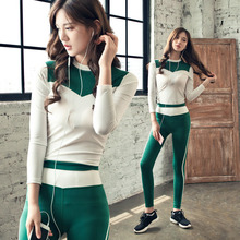 New Women's Yoga Sets Fitness Sportswear Suits Long Sleeve Yoga Shirts Running Gym Yoga Top And green Slim Pants 1 Set