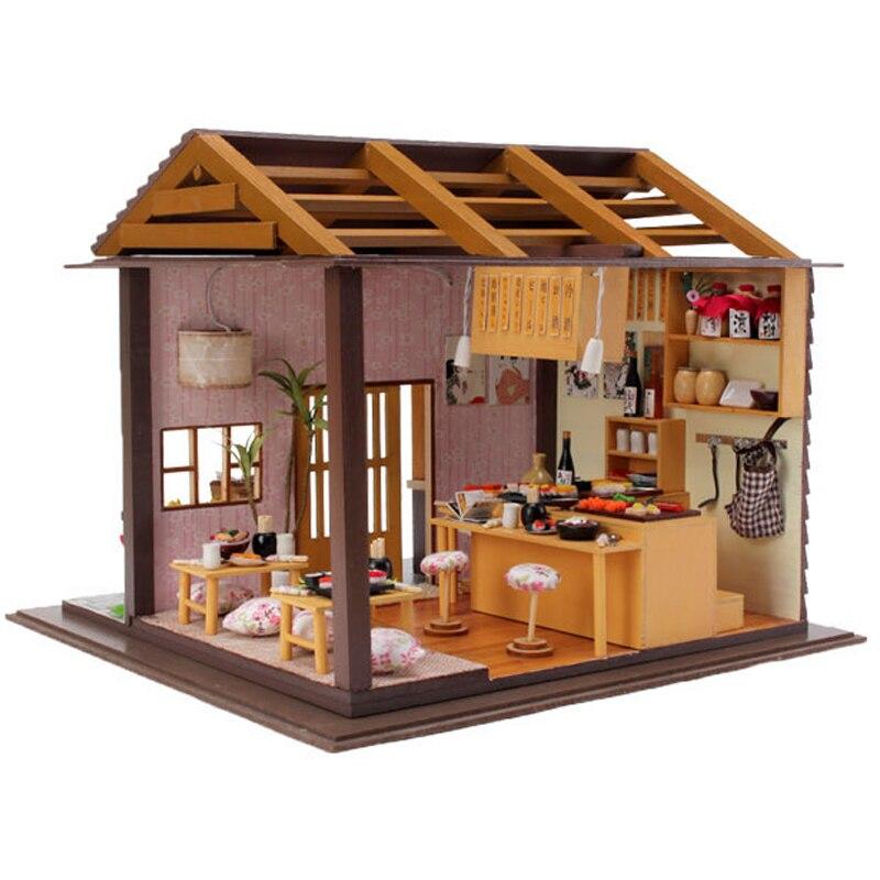 DIY Кукольный дом с Мебель Миниатюрные деревянные Сакура суши кукла Ресторан кукольный д ...