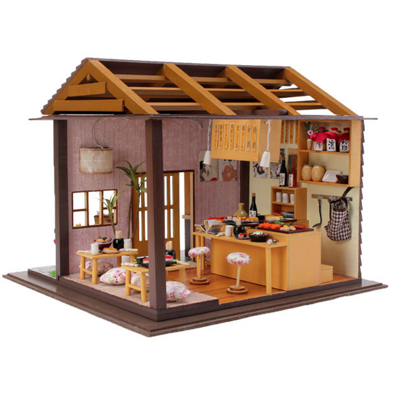 DIY Doll House With Furniture Miniature Wooden Sakura Sushi Doll Restaurant Dollhouse Ha ...