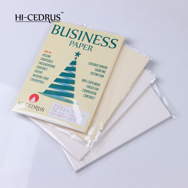 Professional 36gsm ,100% Cotton Business Paper,A4 SIZE ,white Color With Blue And Red Fiber CYT001